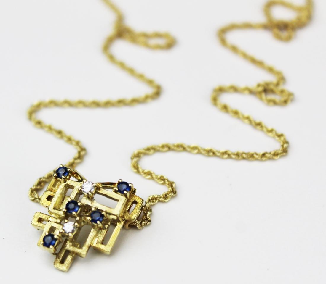 14k yellow gold, diamond, & sapphire pendant - 3