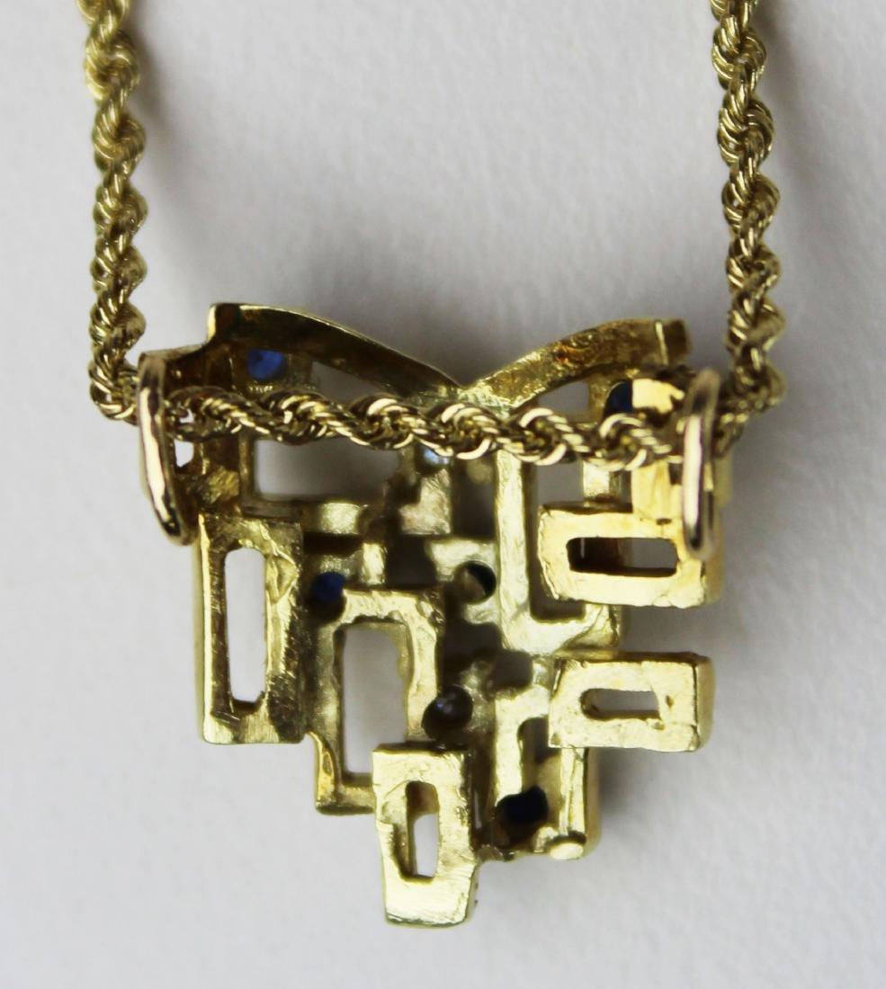 14k yellow gold, diamond, & sapphire pendant - 4