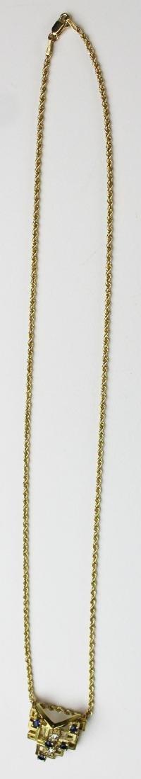 14k yellow gold, diamond, & sapphire pendant - 6