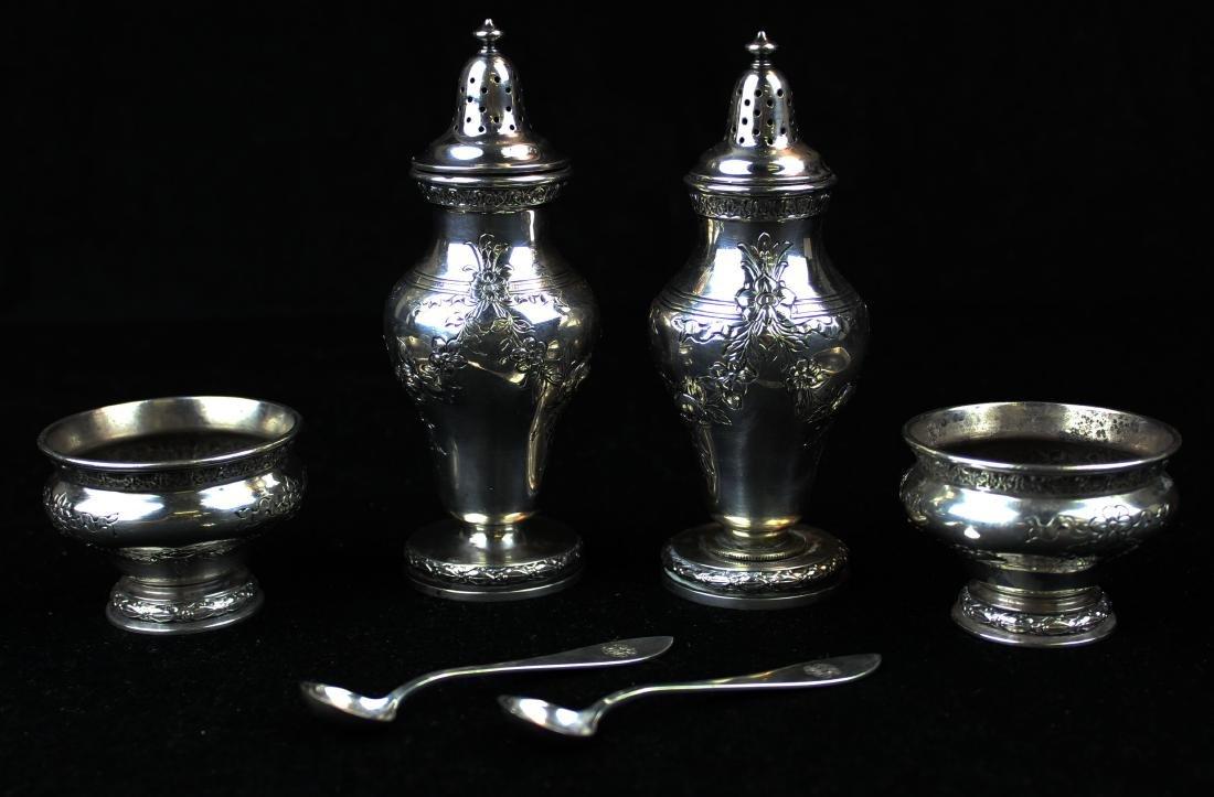 Gorham sterling pepper pots and salt cellars