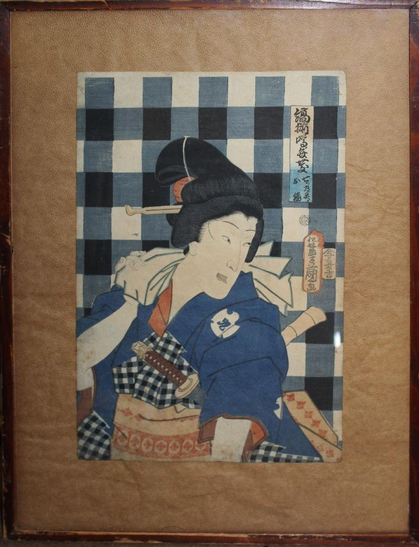 19th c Japanese Ukiyo-e woodblock print