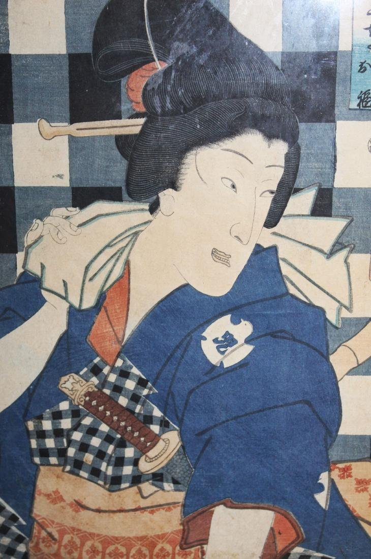 19th c Japanese Ukiyo-e woodblock print - 3