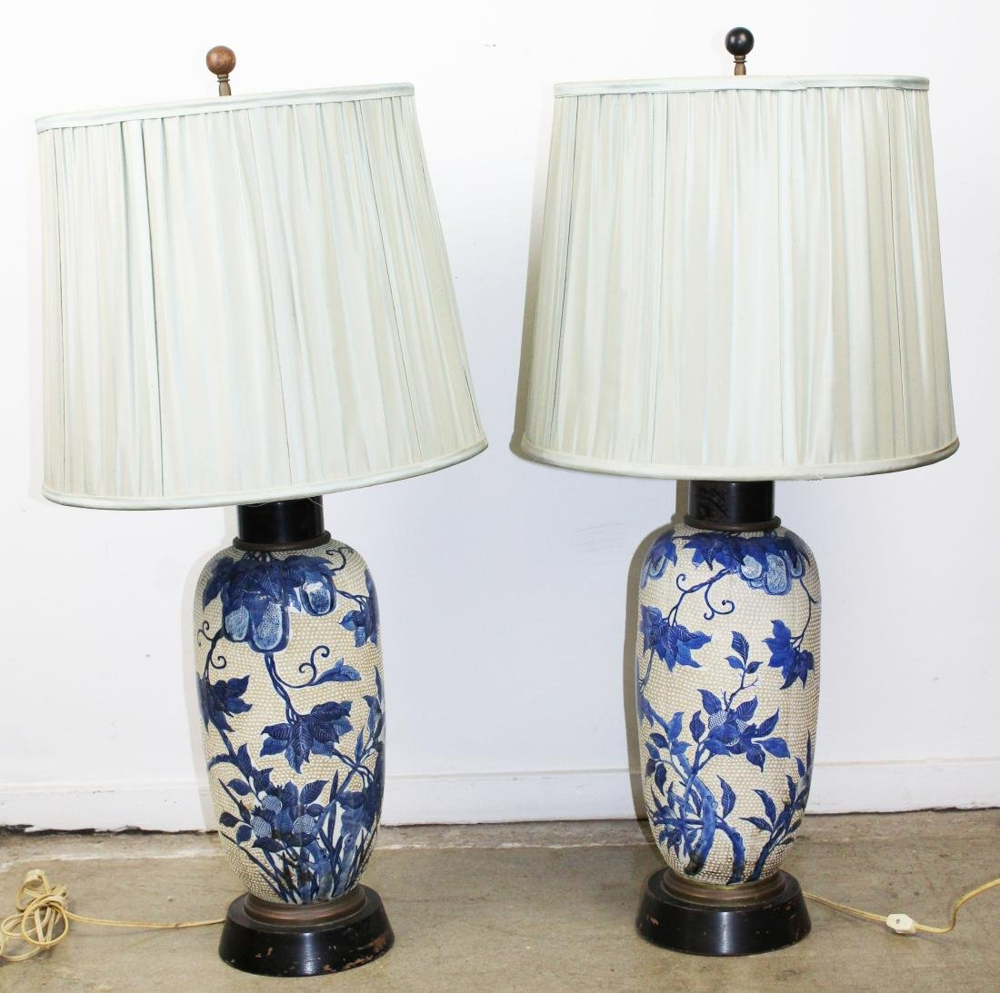 mid 20th c Japanese moriage type vase/ lamps