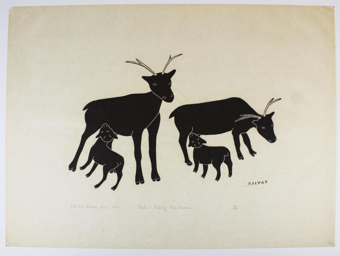 1969 Helen Kalvak Caribou Feeding Their Fawn
