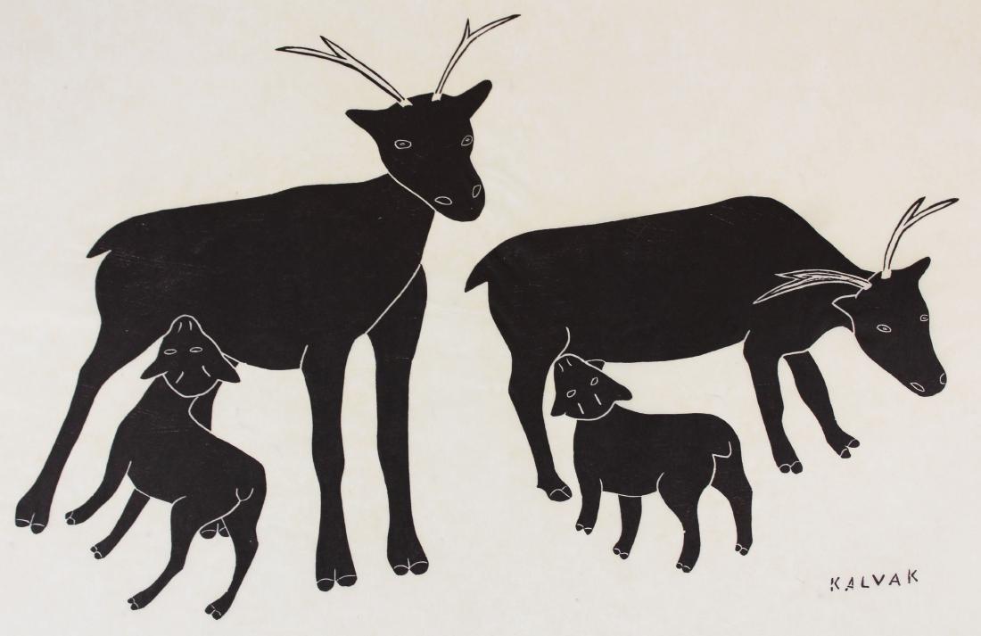 1969 Helen Kalvak Caribou Feeding Their Fawn - 2