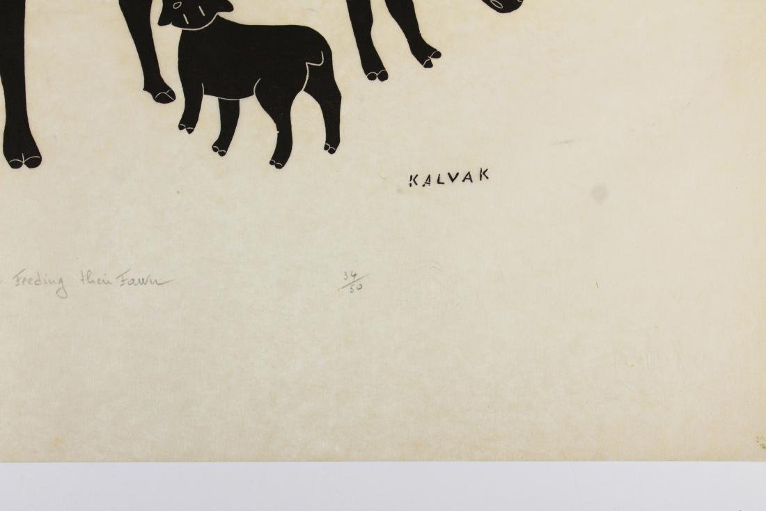 1969 Helen Kalvak Caribou Feeding Their Fawn - 3
