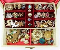 box of vintage 1950's-1960's costume jewelry