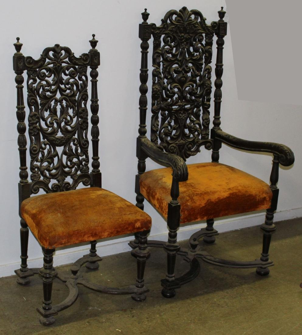 set of six late 19th c  Jacobean dining chairs