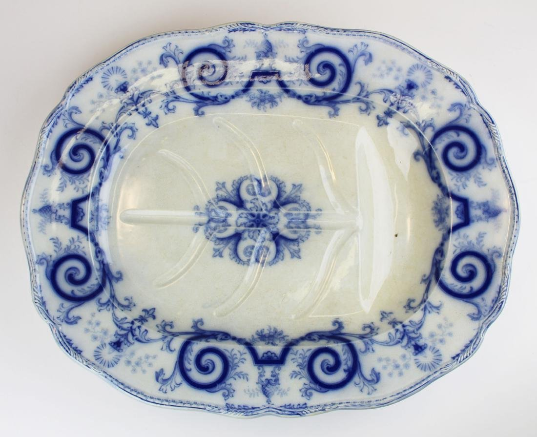 lg. 19th c. flow blue ironstone meat platter