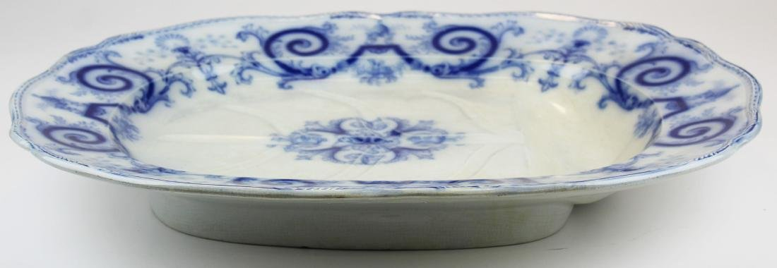 lg. 19th c. flow blue ironstone meat platter - 2