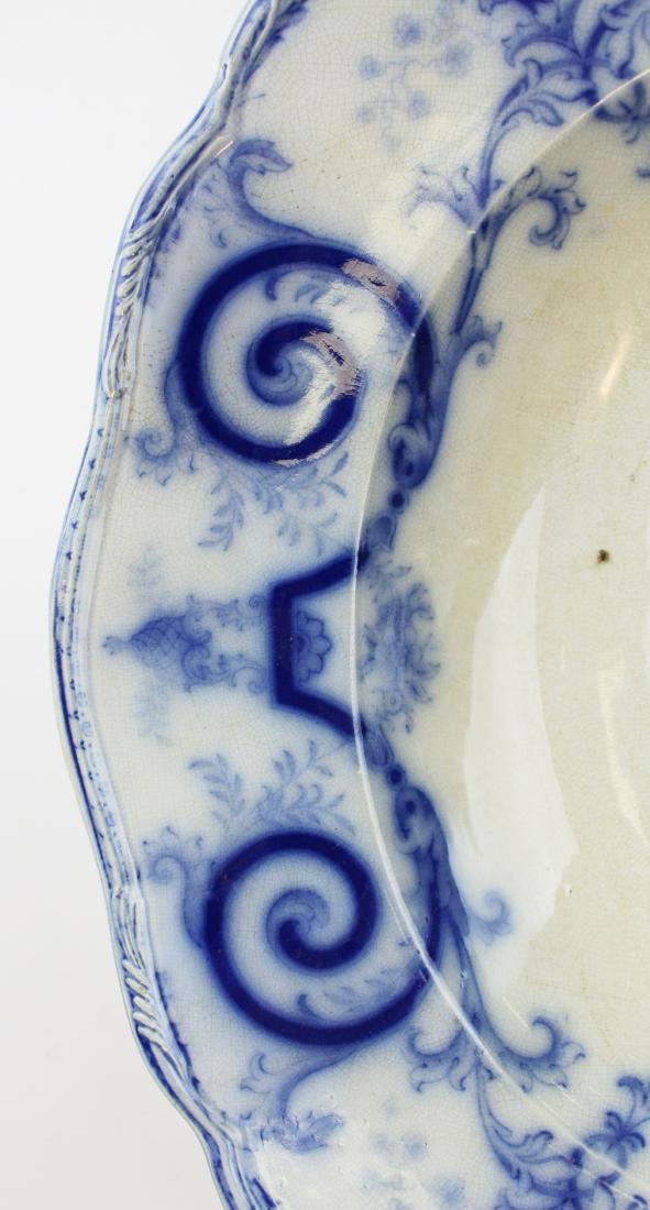 lg. 19th c. flow blue ironstone meat platter - 3