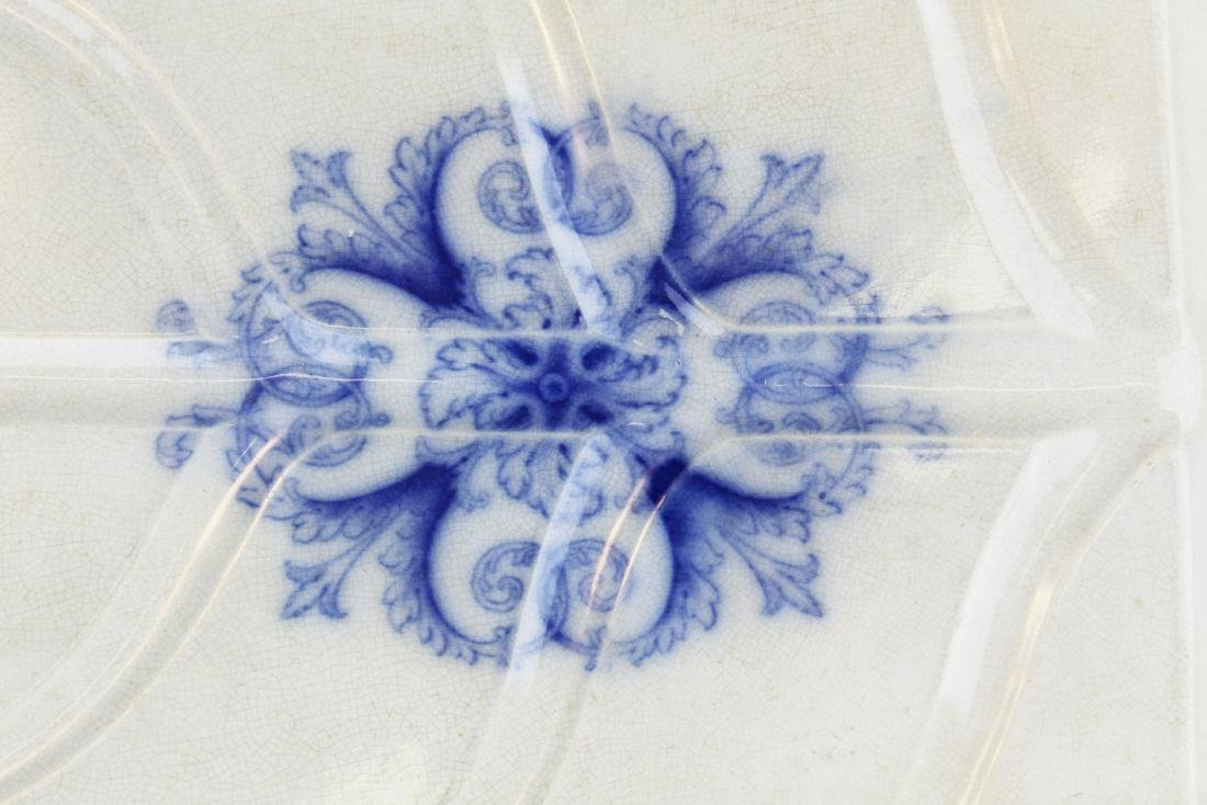 lg. 19th c. flow blue ironstone meat platter - 4