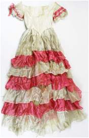 mid 19th c. cream and pink silk party dress
