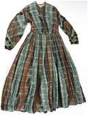 ca. 1860 Victorian plaid long sleeve dress