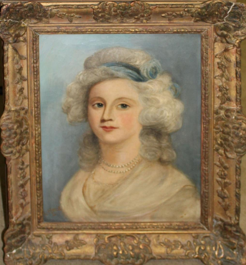 19th c French School oil on canvas of a lady
