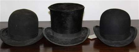 Beaver top hat and two bowler hats