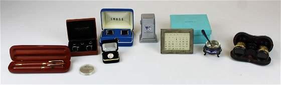 Tiffany sterling calendar, UN pens, cufflinks, etc