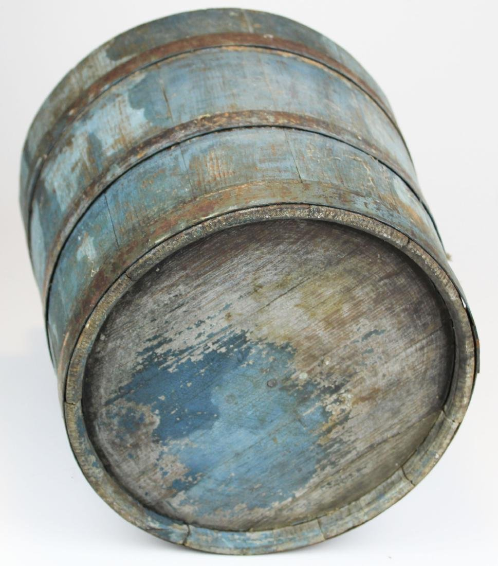 late 19th c VT old blue painted sap bucket - 10