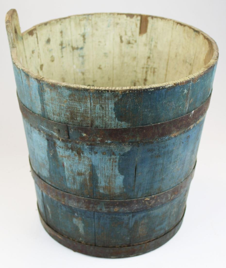 late 19th c VT old blue painted sap bucket