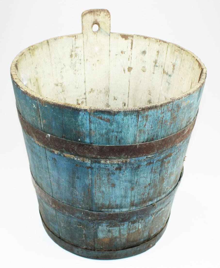 late 19th c VT old blue painted sap bucket - 2