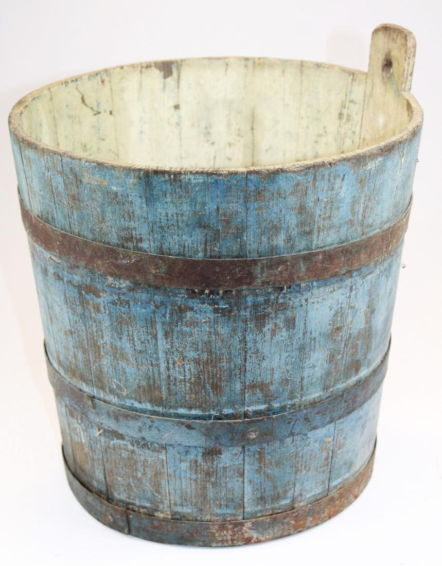 late 19th c VT old blue painted sap bucket - 3