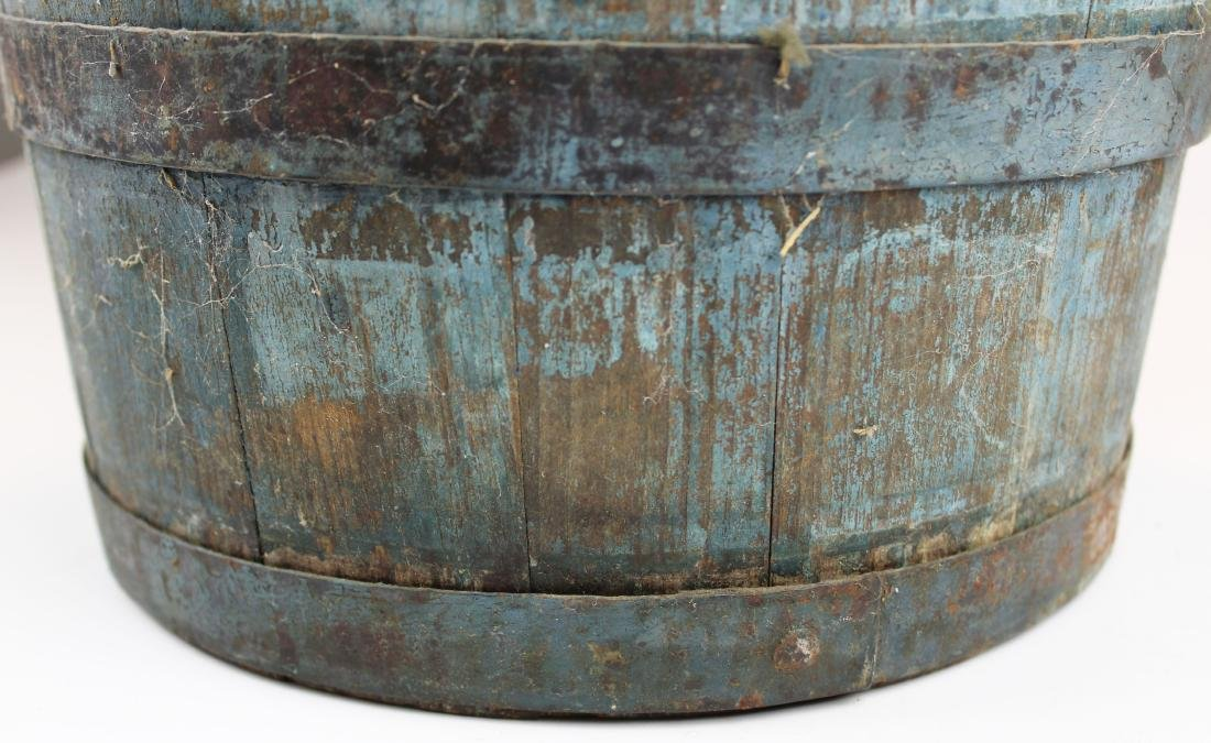 late 19th c VT old blue painted sap bucket - 5