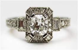 1.25 ct. cushion cut diamond engagement ring