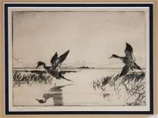 mid 20th c Frank W Benson dry point etching