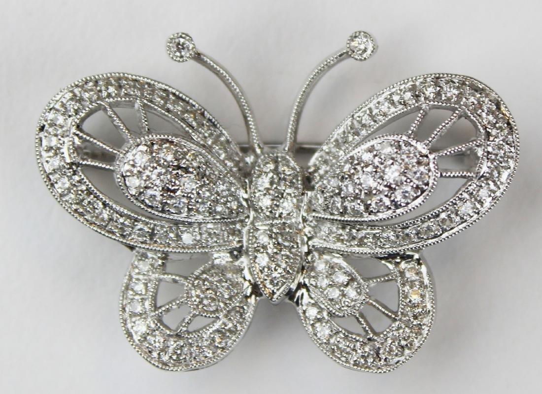 Diamond 18k w.g butterfly brooch pendant