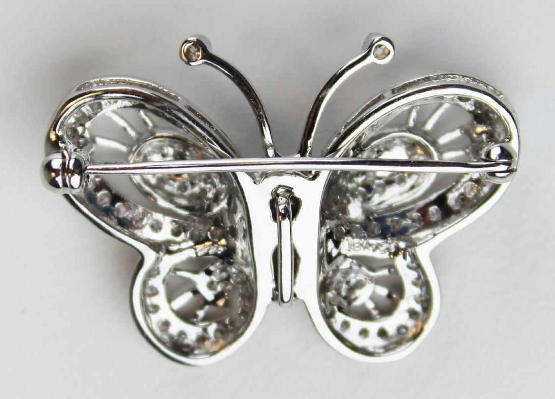 Diamond 18k w.g butterfly brooch pendant - 2