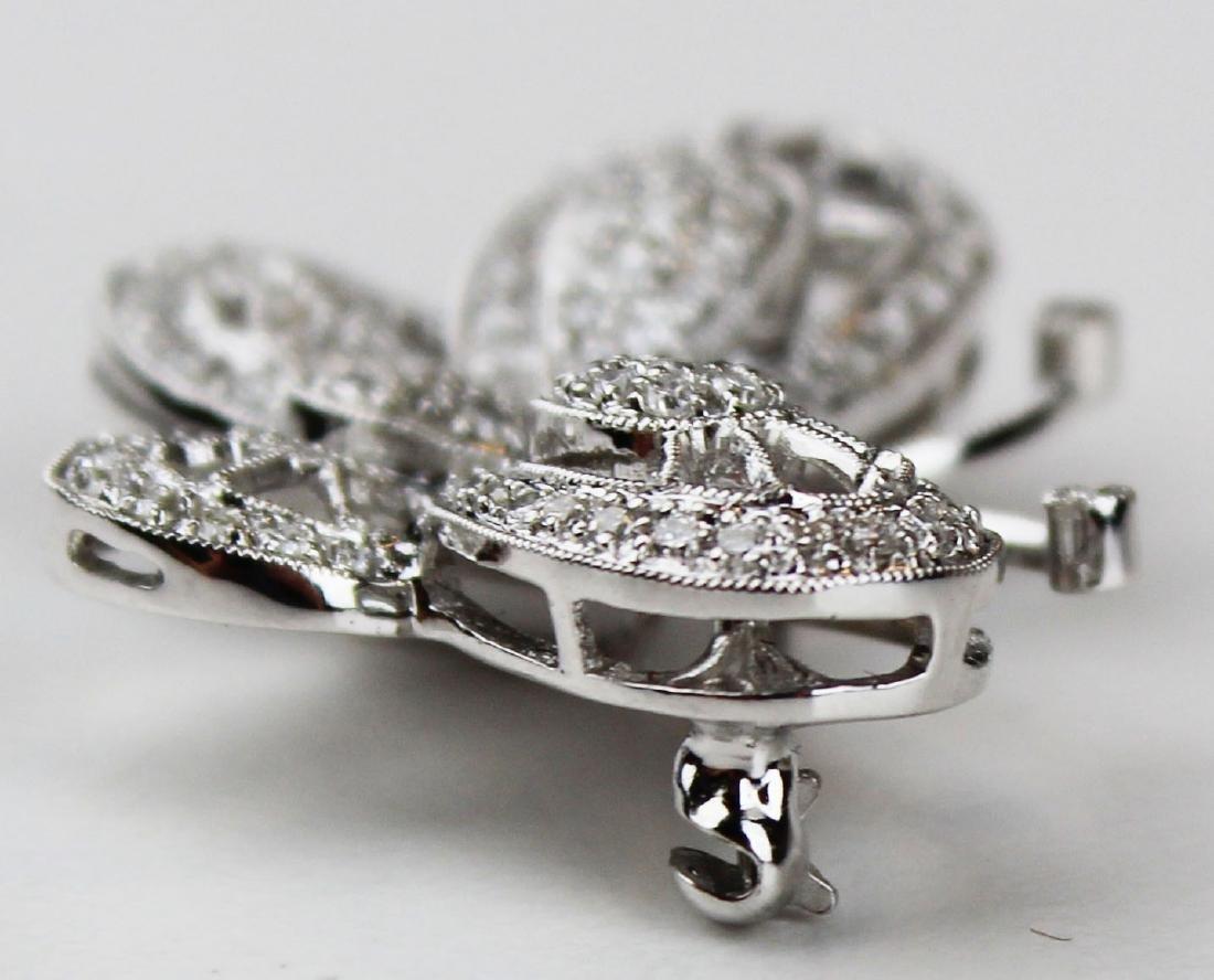 Diamond 18k w.g butterfly brooch pendant - 3