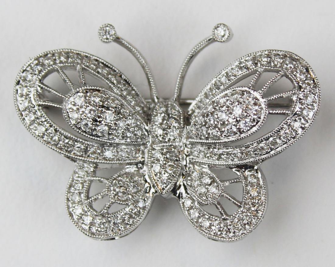 Diamond 18k w.g butterfly brooch pendant - 4