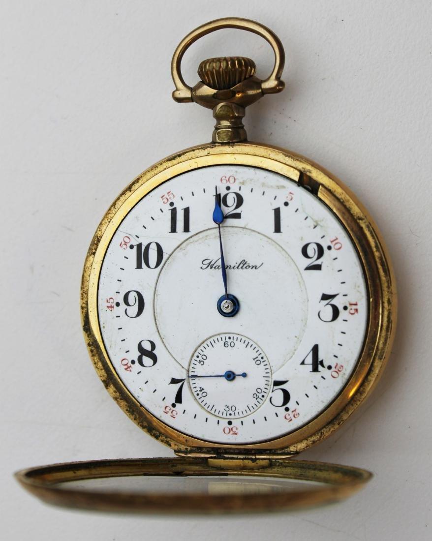 Hamilton 21 jewel open face pocket watch - 3