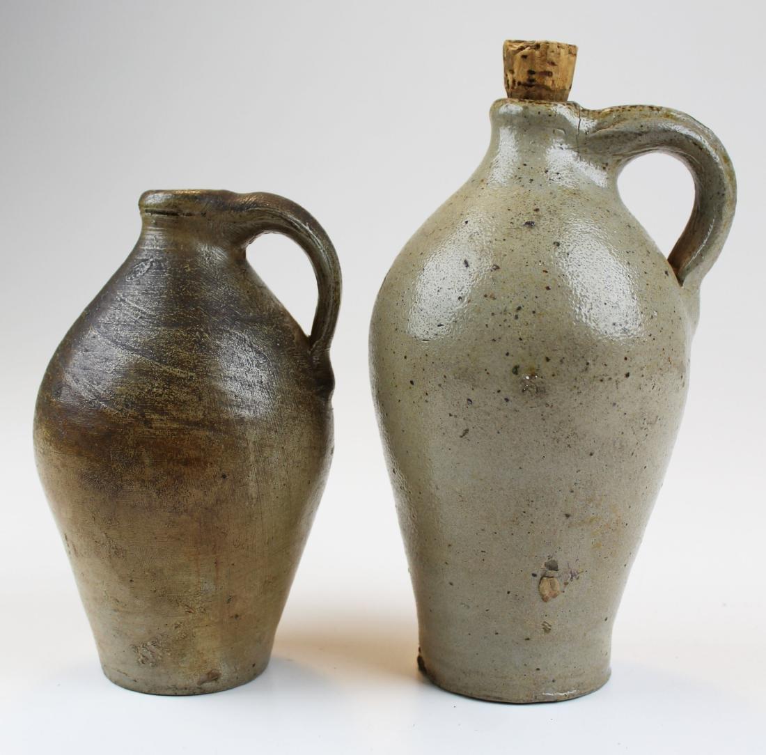 two small salt glazed stoneware jugs