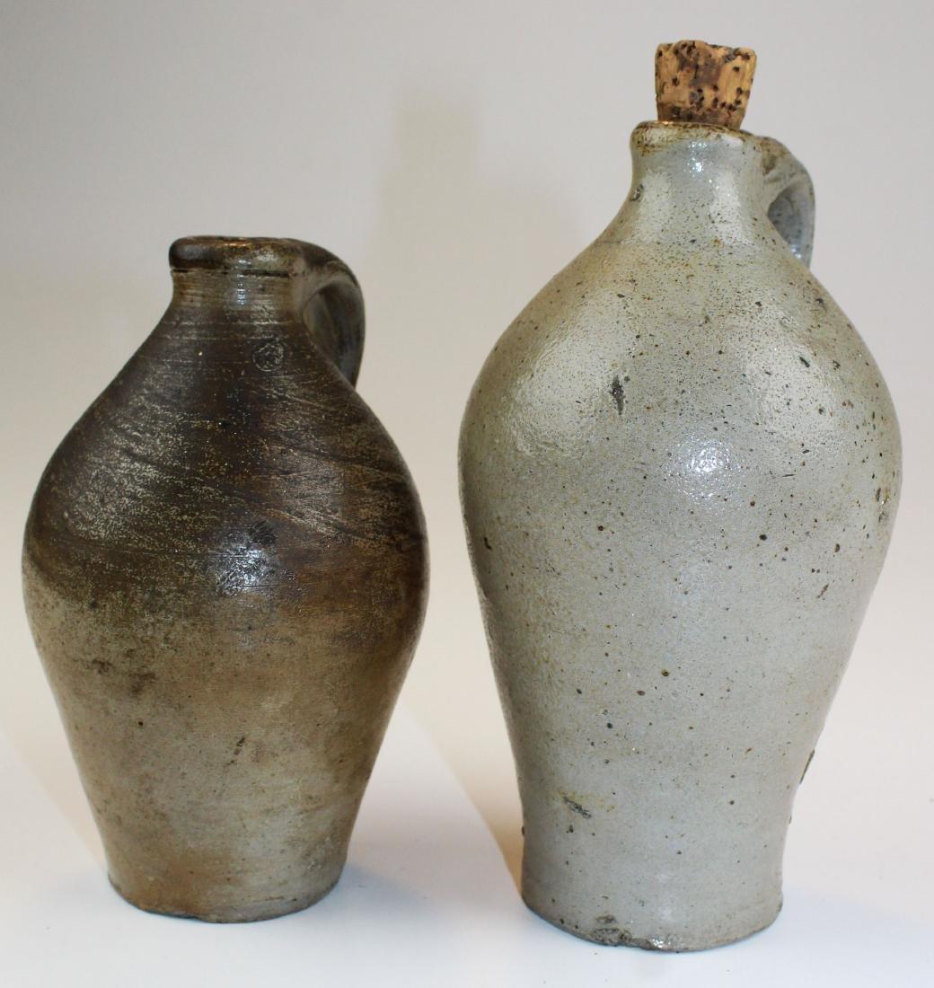 two small salt glazed stoneware jugs - 2