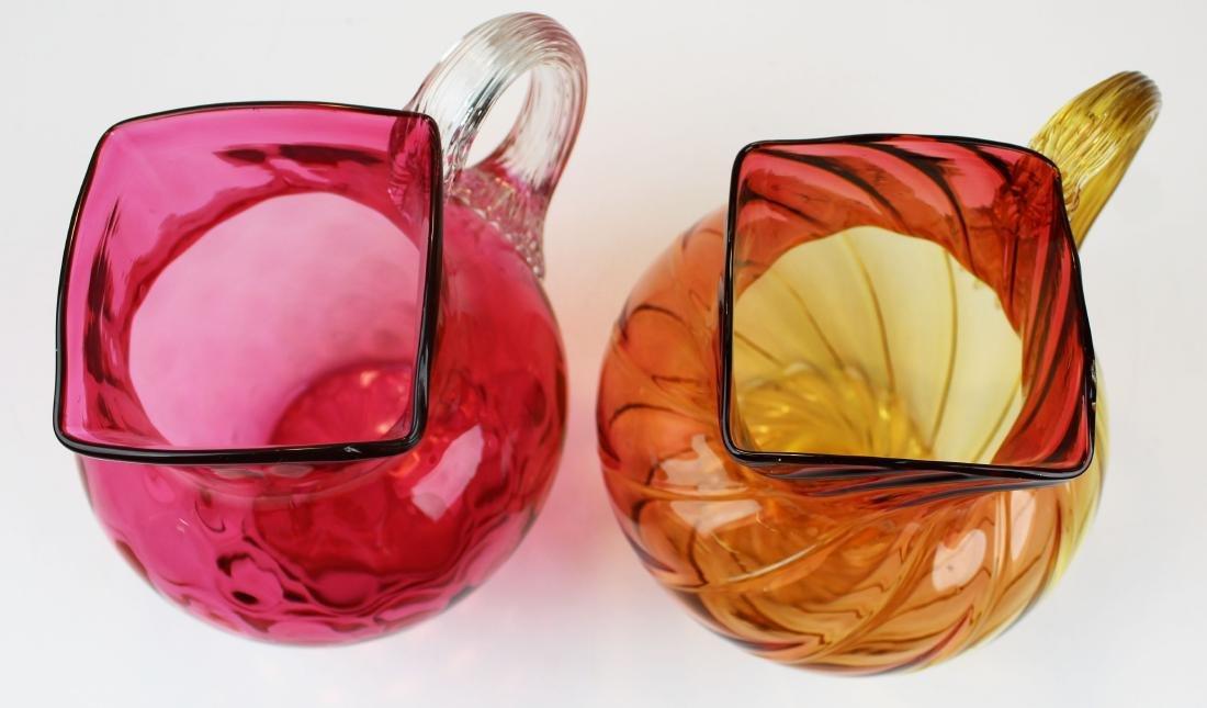 Cranberry and Amberina art glass pitchers - 2