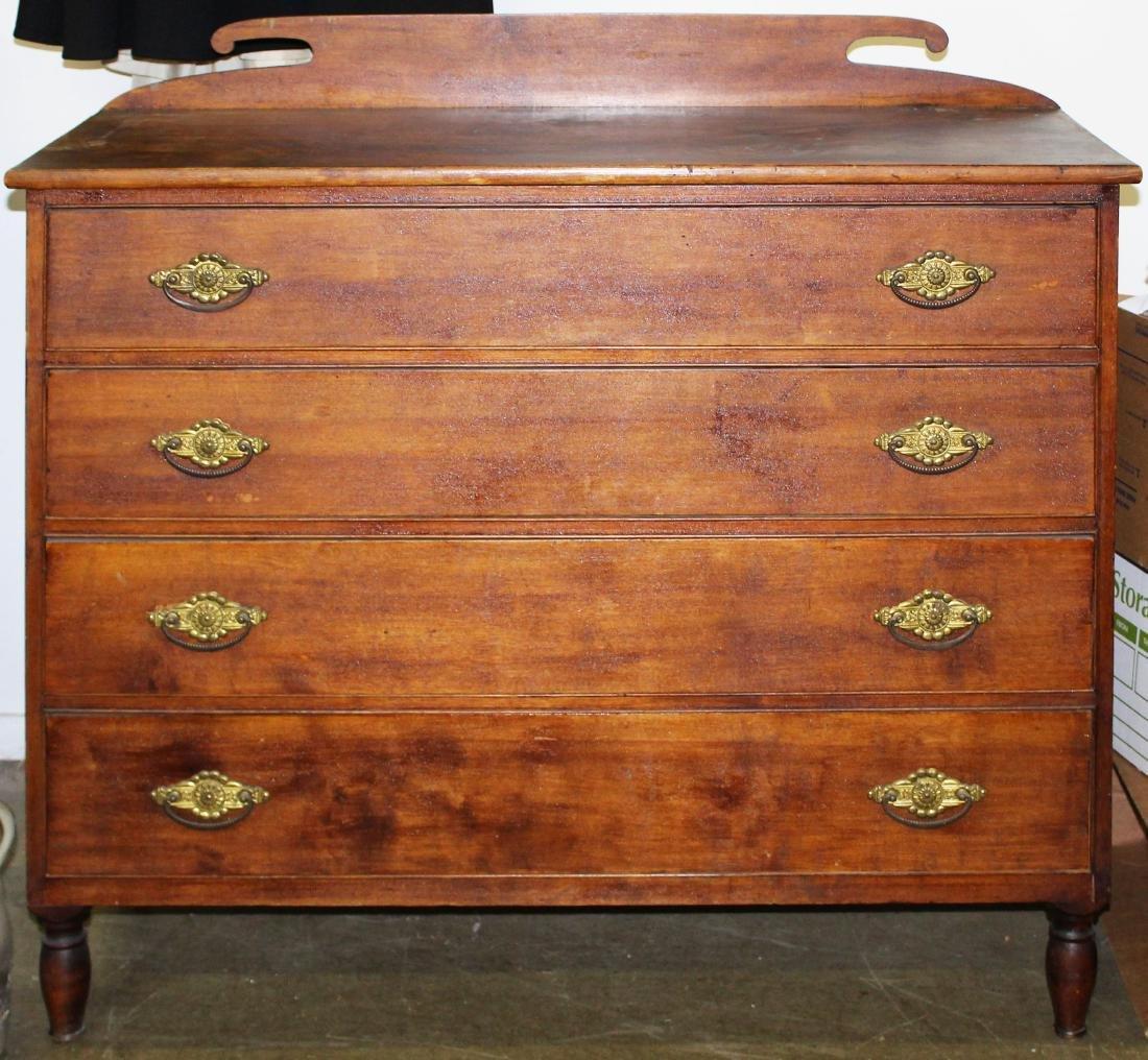 19th c VT Sheraton birch 4 drawer chest