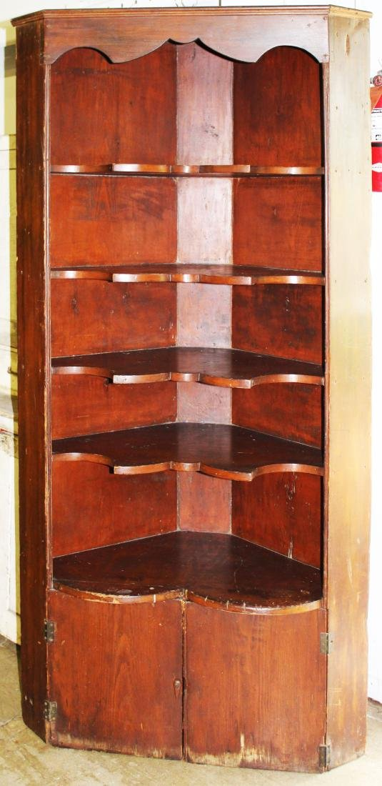 19th c pine corner cupboard