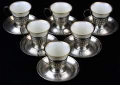 6 Gorham sterling silver demitasse cups