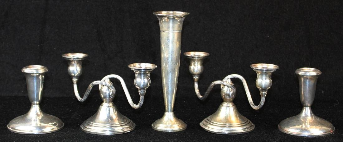 weighted sterling candlesticks and vase