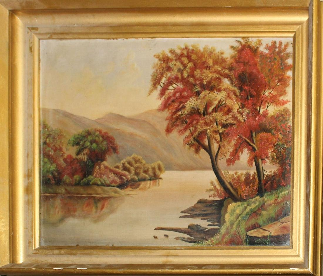 19th c Hudson River School oil on canvas of river