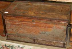 19th c pine tool chest with iron hardware