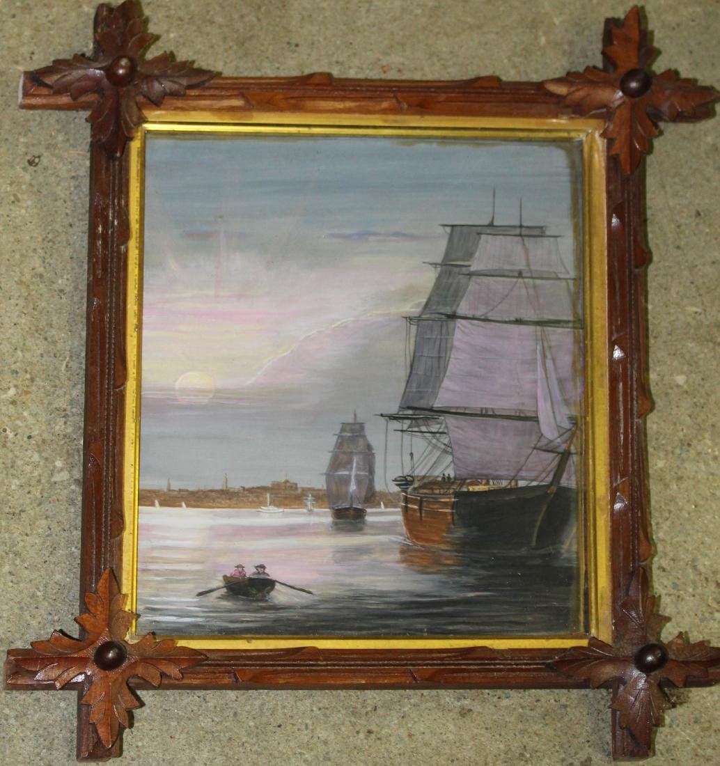 unsigned 19th c American watercolor Boston Harbor