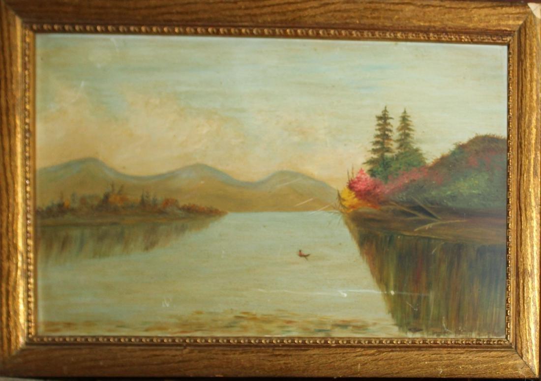 19th c NH School oil on board of a lake