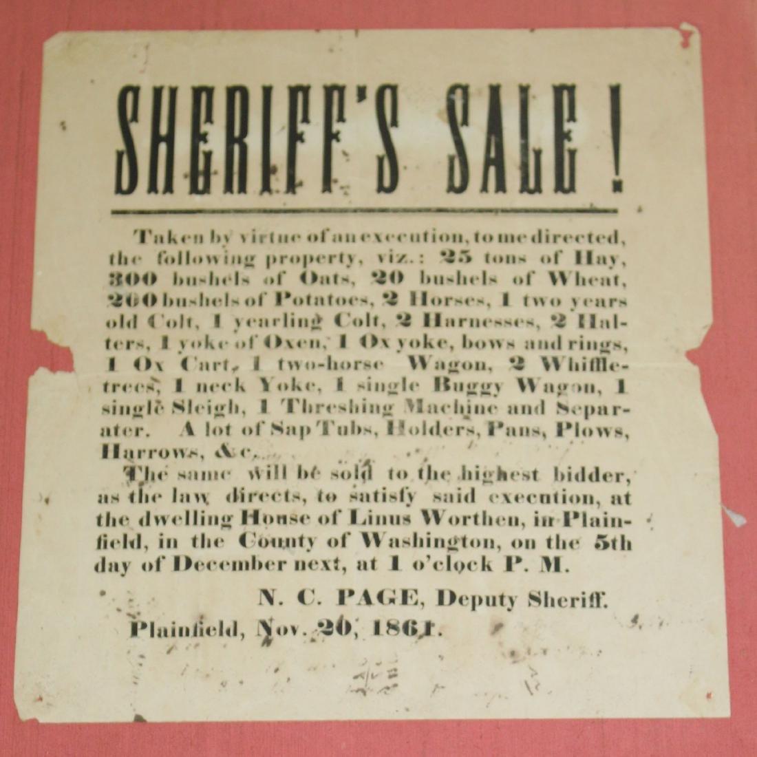 """1860 Broadside """"Sheriffs Sale"""""""