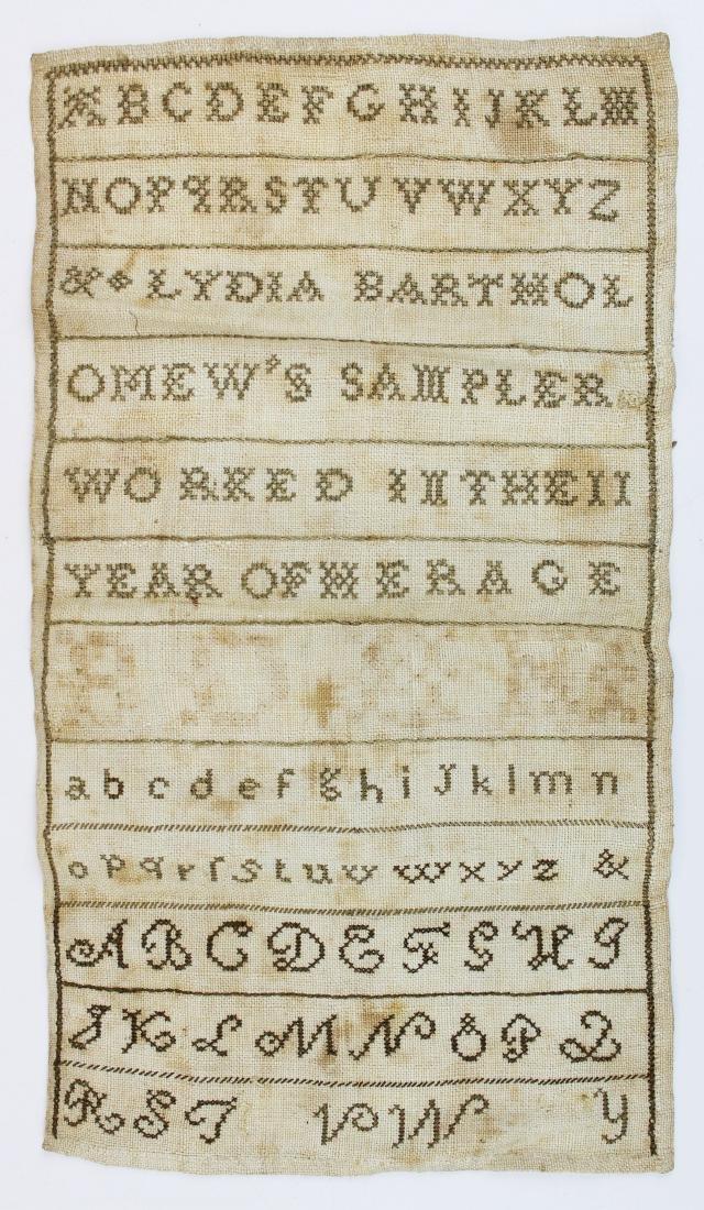 early 19th c Lydia Bartholomew sampler