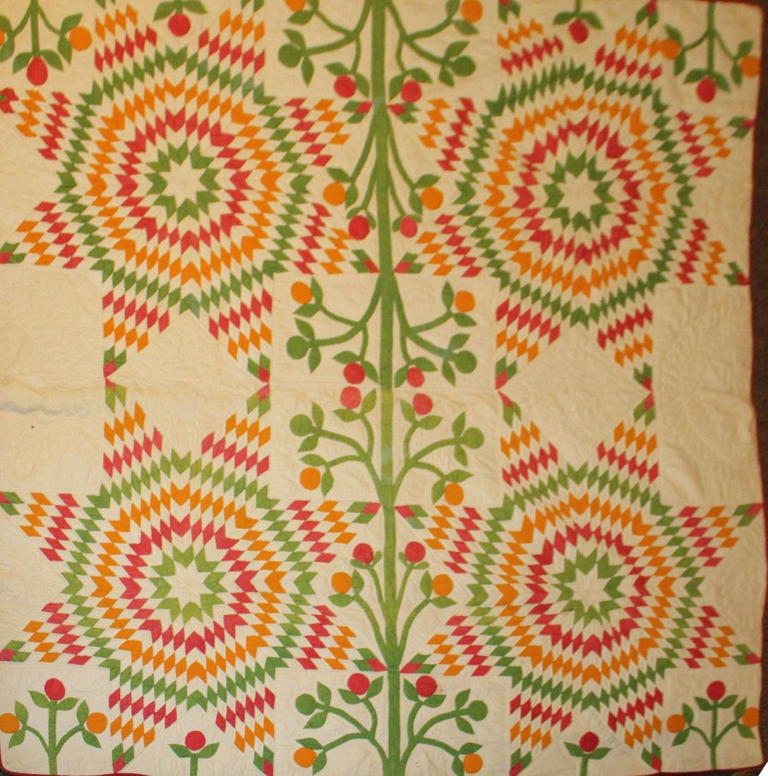19th c applique quilt top with newer backing
