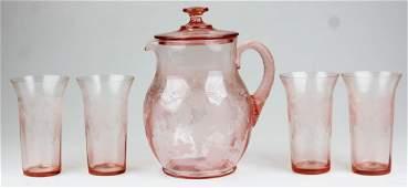 Pink Elegant Depression Era lemonade set