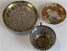 19th c Japanese Satsuma dish, cup & saucer