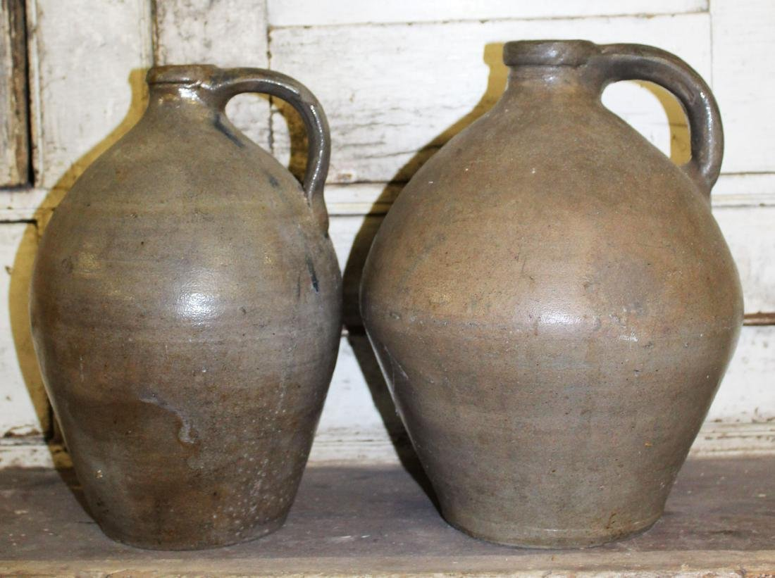 two early 19th c signed ovoid jugs